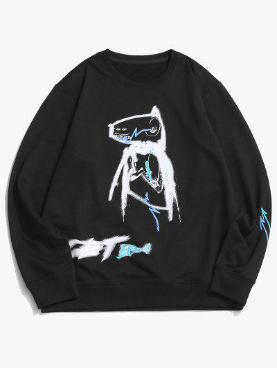 Cartoon Animal Paint Print Casual Sweatshirt - Black Xs