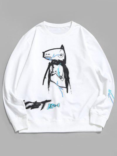 Cartoon Animal Paint Print Casual Sweatshirt - White L