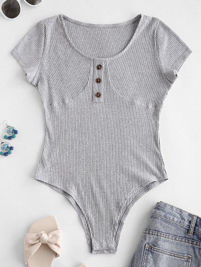 Ribbed Mock Button Short Sleeve Bodysuit - Light Gray M
