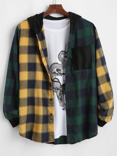 Contrast Plaid Pocket Patchwork Hooded Shirt - Green M