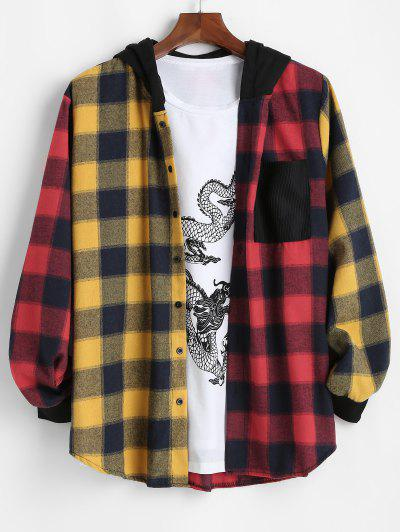 Contrast Plaid Pocket Patchwork Hooded Shirt - Red 2xl