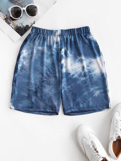 Tie Dye High Waisted Short Leggings - Blue Xl