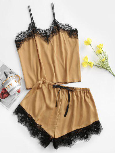 Two Piece Eyelash Lace Trim Satin Pajama Set - Deep Yellow S