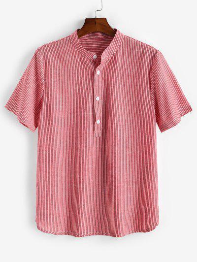 Camisa Listrada De Meio Ziper Com Gola Para Cima - Luz Rosa L