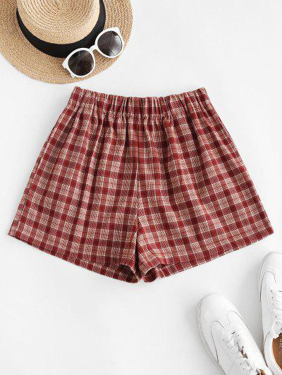 Plaid Pocket Pull-on Shorts - Red S