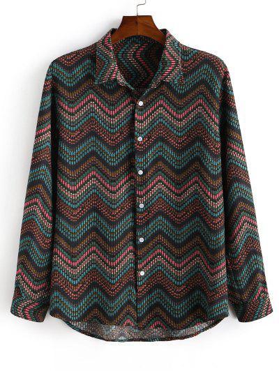 Tribal Zigzag Print Button Down Shirt - Deep Green L