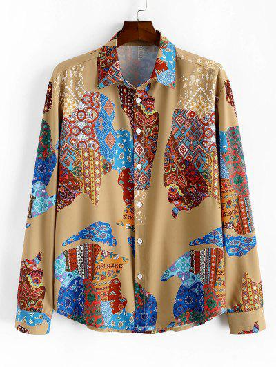 Ethnic Map Print Button Up Casual Shirt - Multi L