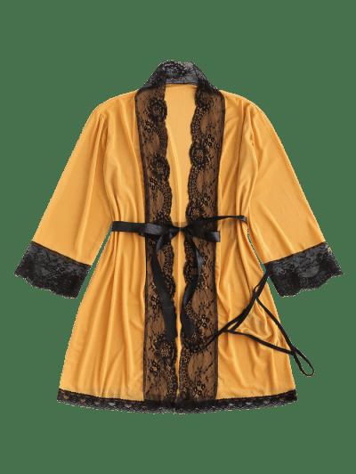 Lace Trim Mesh Robe Set