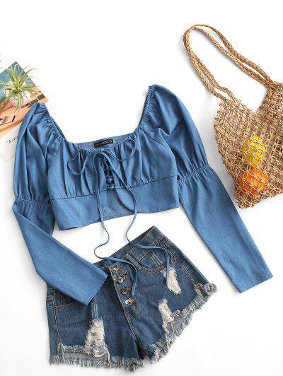 ZAFUL Cropped Lace Up Chambray Blouse - Blue S