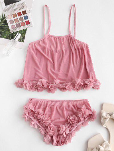 Petals Mesh Pajama Set - Light Pink M