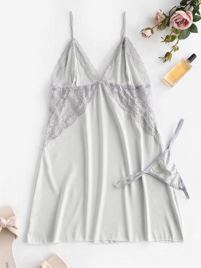 Lace Panel Satin Slip Dress - Light Gray S