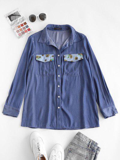 ZAFUL Chambray Flower Print Pocket Shirt - Light Blue M