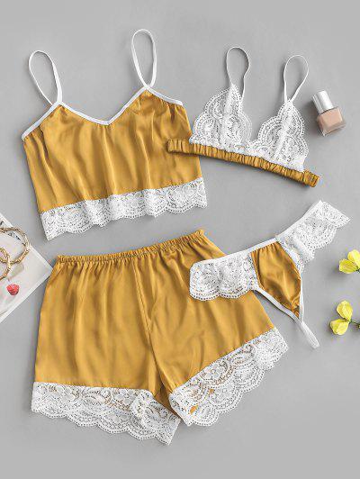 Four Piece Scalloped Lace Trim Satin Lingerie Pajama Set - Deep Yellow M