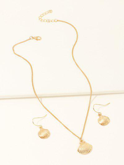 Conjunto De Collar Brillantes Concha Y Pendientes - Dorado