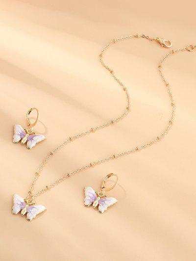Butterfly Earrings Necklace Set - Mauve