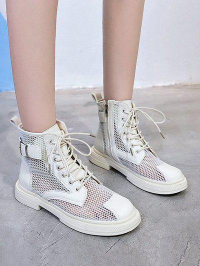 Mesh Lace Up Ankle Boots - White Eu 37