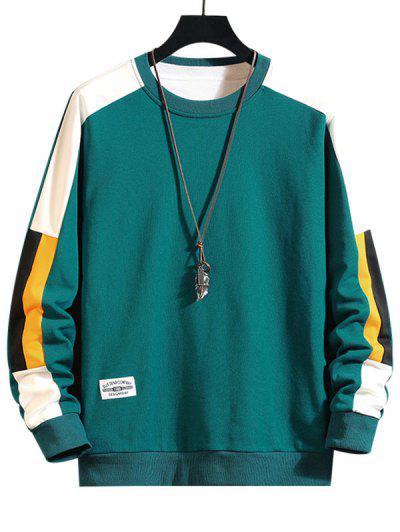 Color Blocking Panel Crew Neck Sweatshirt - Green M