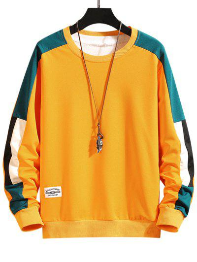 Color Blocking Panel Crew Neck Sweatshirt - Yellow M