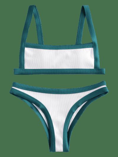 ZAFUL Square Binding Textured Ribbed Bikini Swimwear