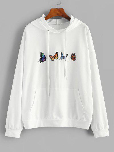 ZAFUL Drop Shoulder Butterfly Print Hoodie - White S