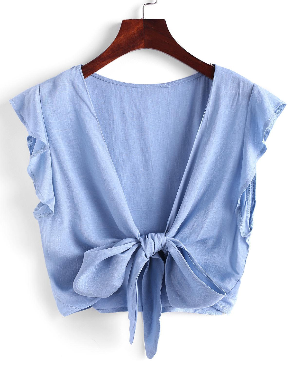 Tie Front Ruffled Sleeve Cropped Blouse