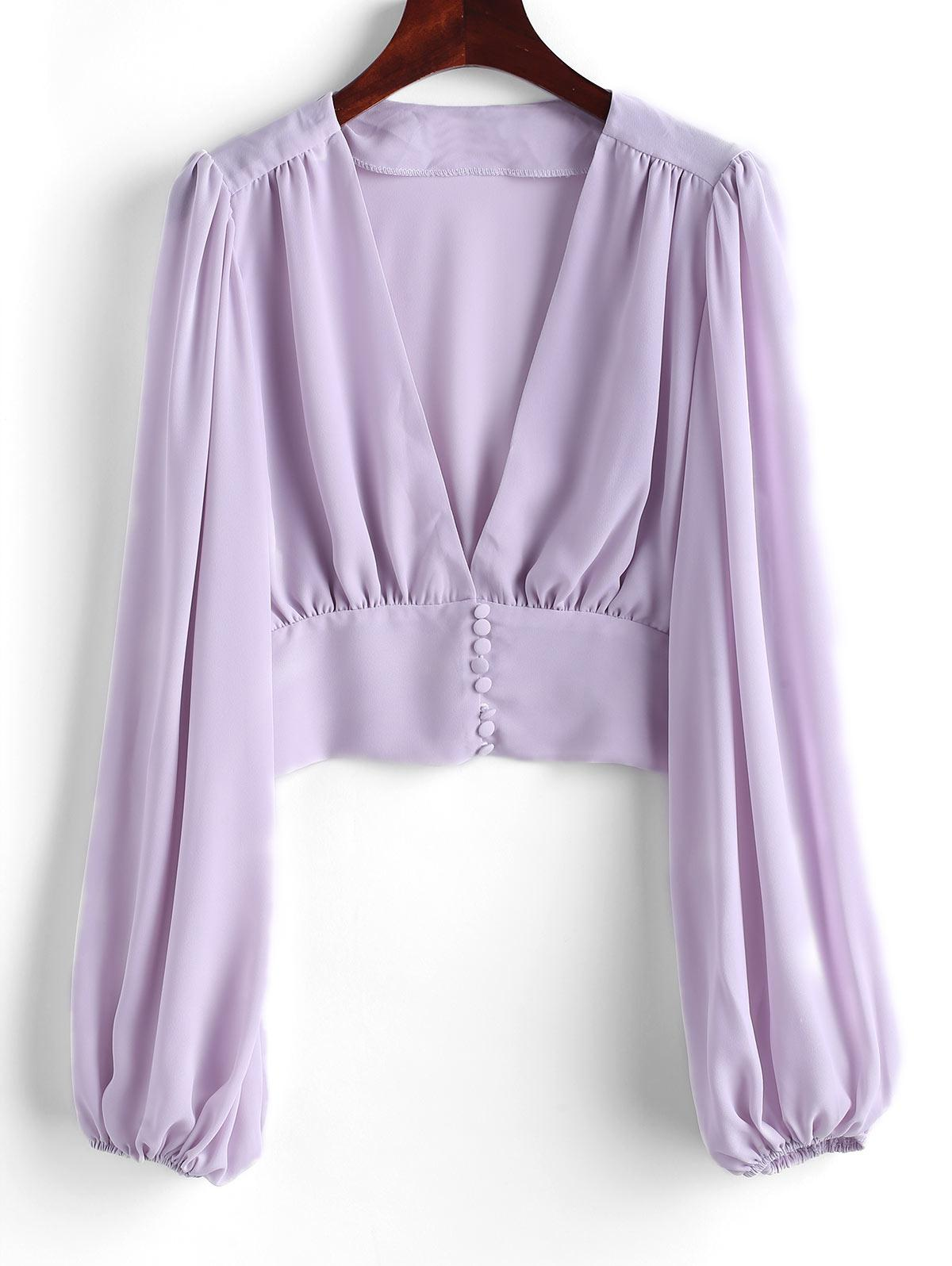 V Neck Button Loop Front Chiffon Blouse