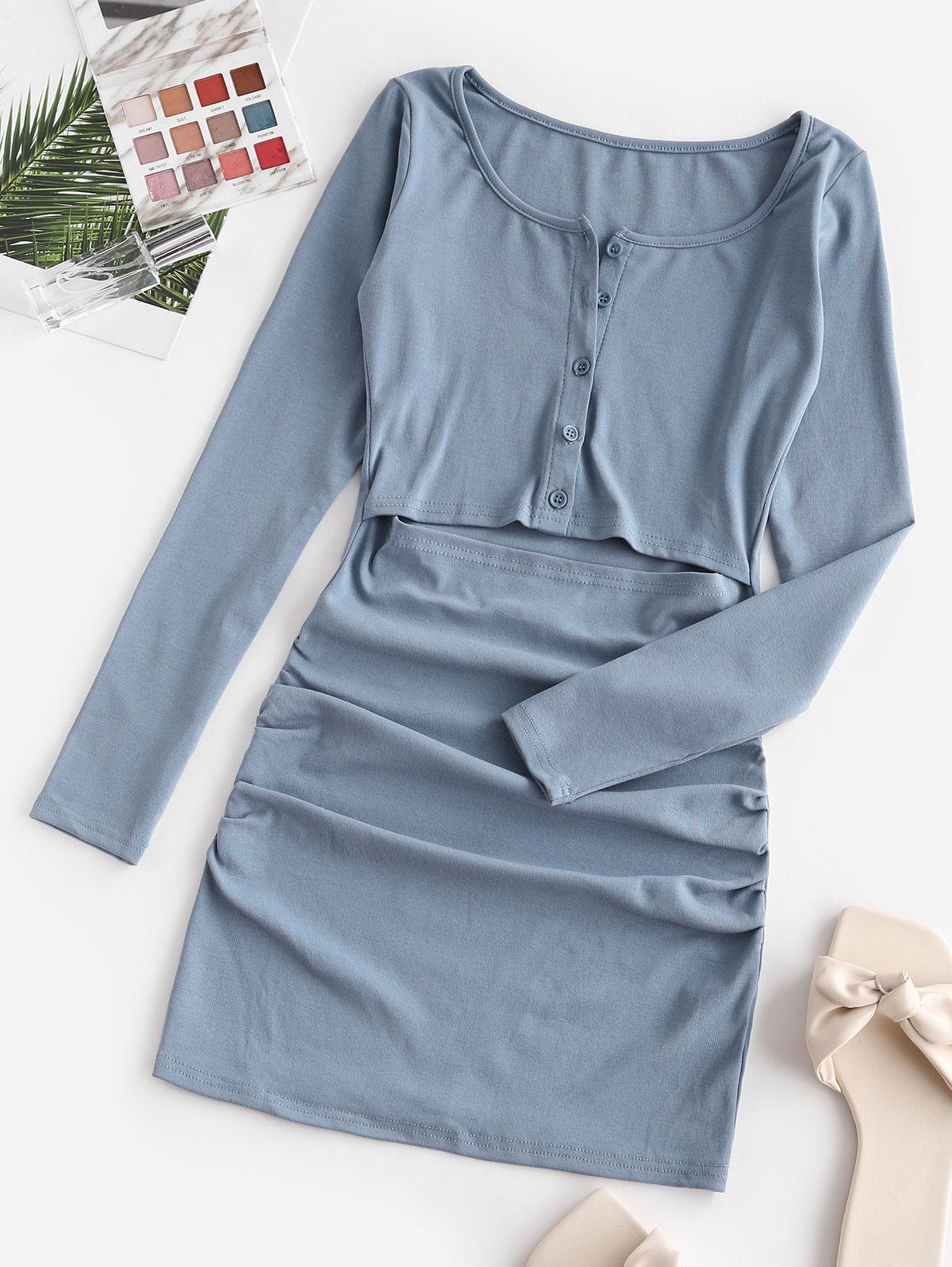 Half Buttoned Cut Out Draped Mini Dress