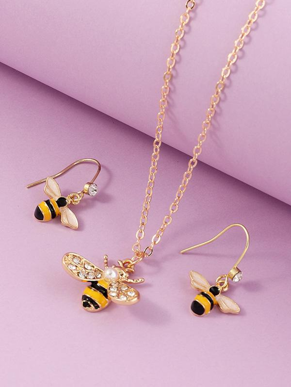 Bee Rhinestone Necklace Earrings Set