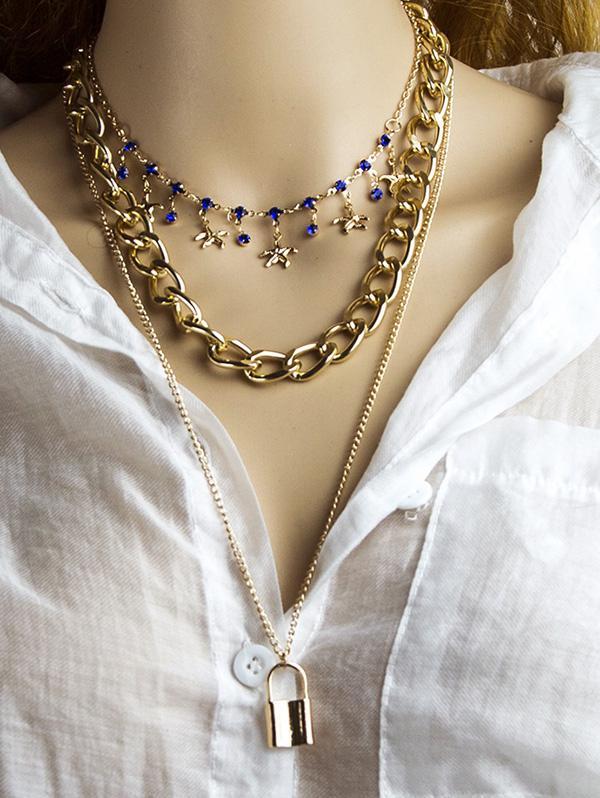 3Pcs Lock Starfish Charm Necklace Set