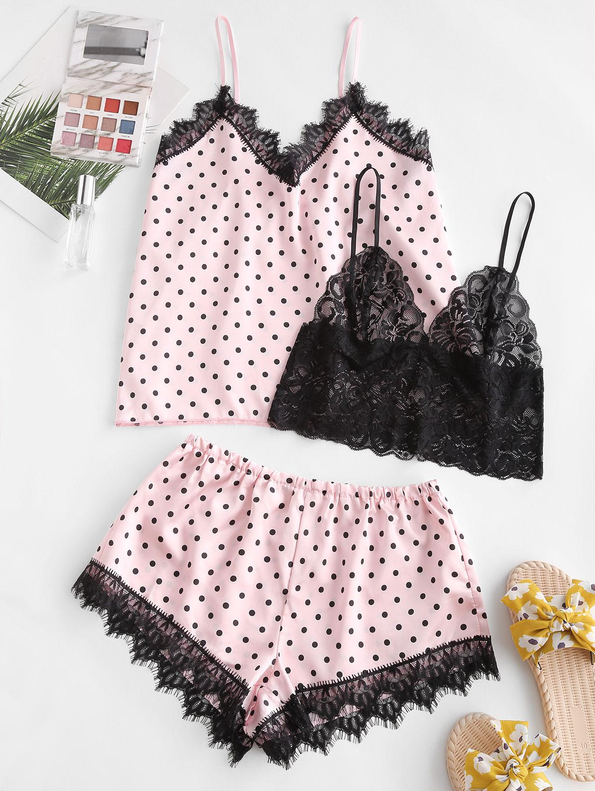 Polka Dot Lace Trim Satin Pajama Set with Bralette