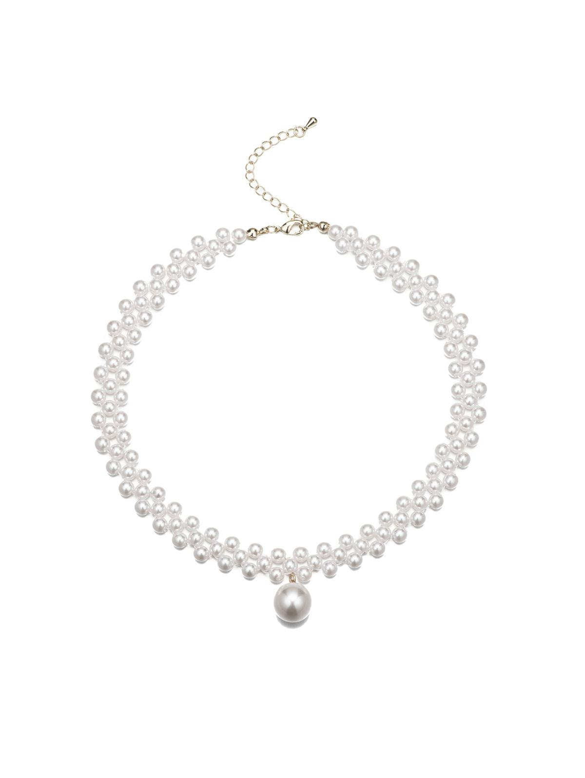 Faux Pearl Beaded Choker Necklace