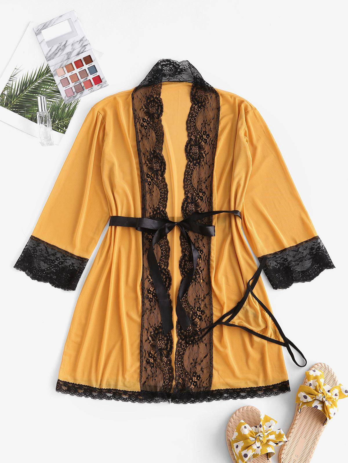 Lace Trim Mesh Robe Set