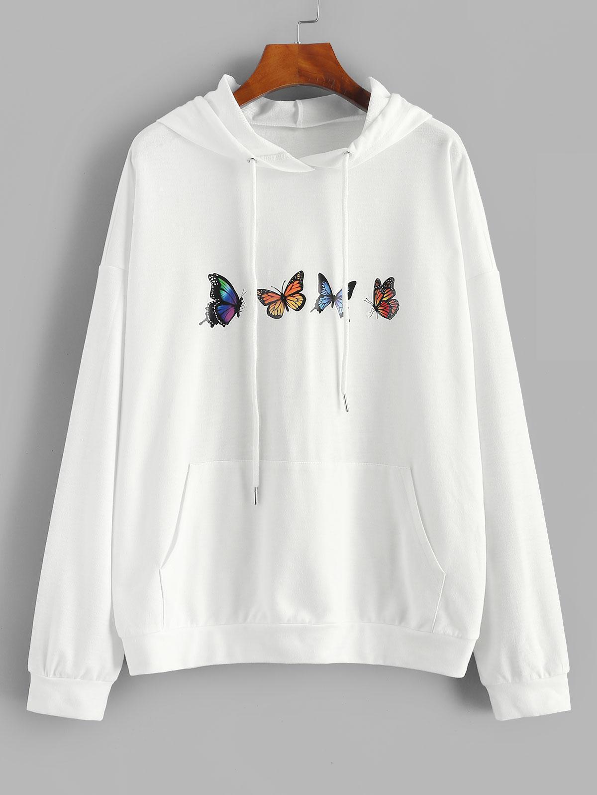 Sweat à Capuche Papillon Imprimé à Goutte Epaule - ZAFUL - Modalova