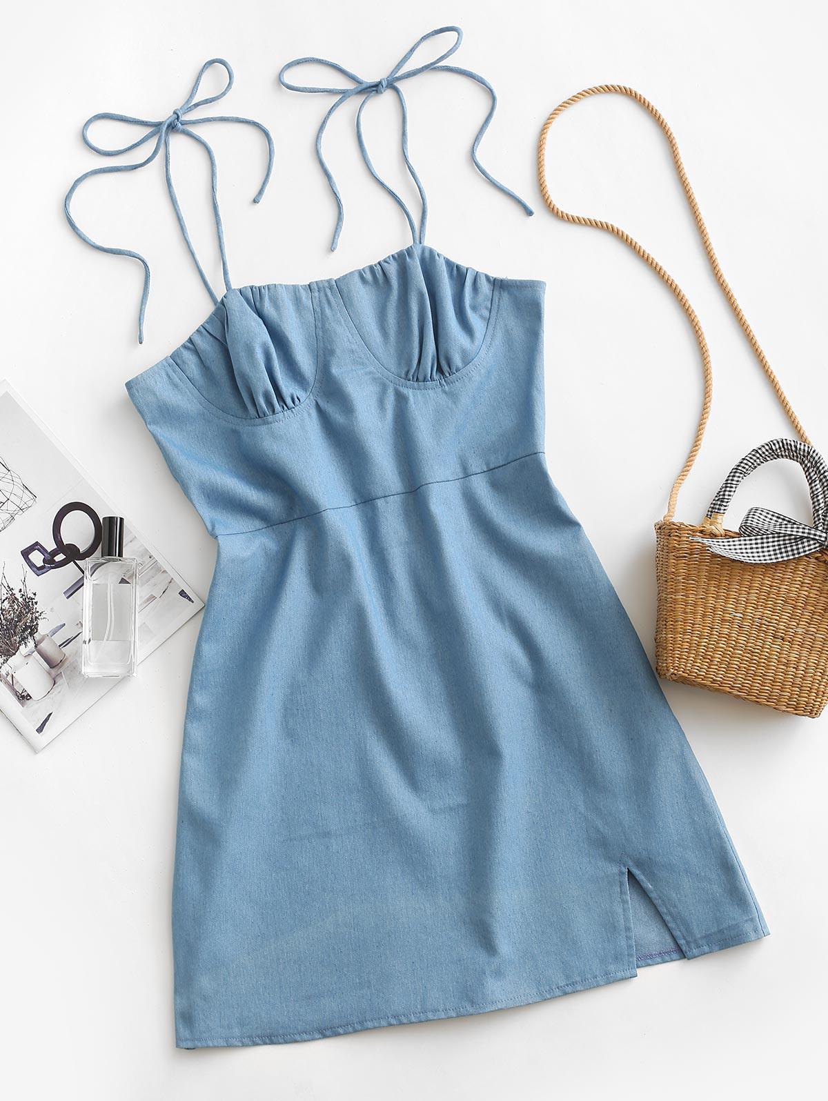 ZAFUL Bustier Tie Shoulder Slit Chambray Dress
