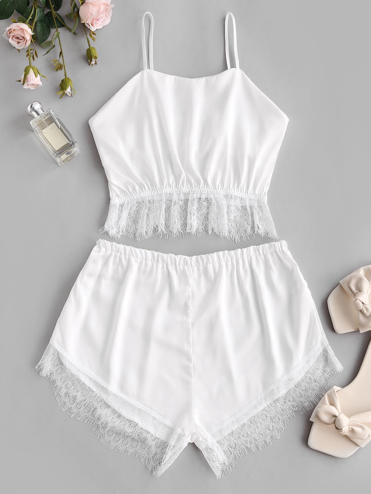 Lace and Satin Silky Short Pajama Set