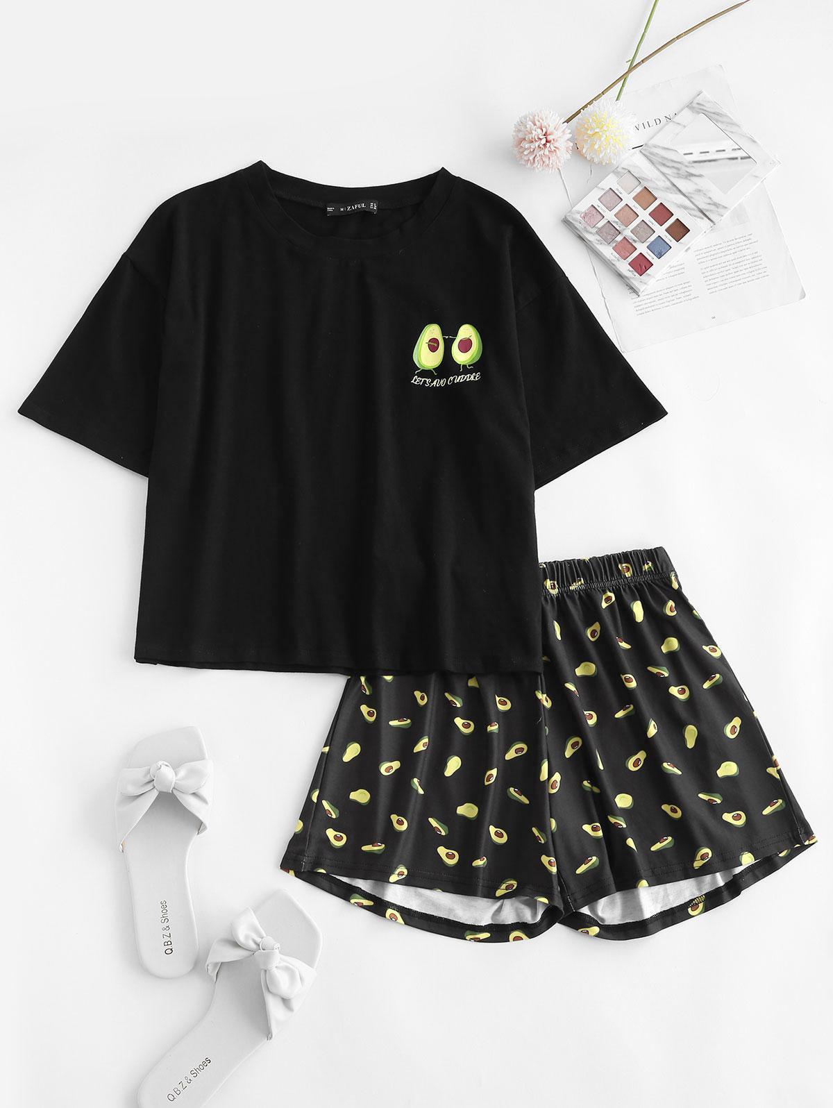 Drop Shoulder Avocado Print Pajama Shorts Set