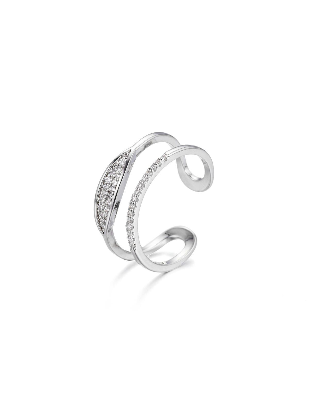 Hollow Zircon Inlay Open Ring