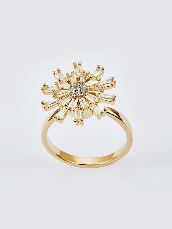 Rotatable Chrysanthemum Zircon Open Ring