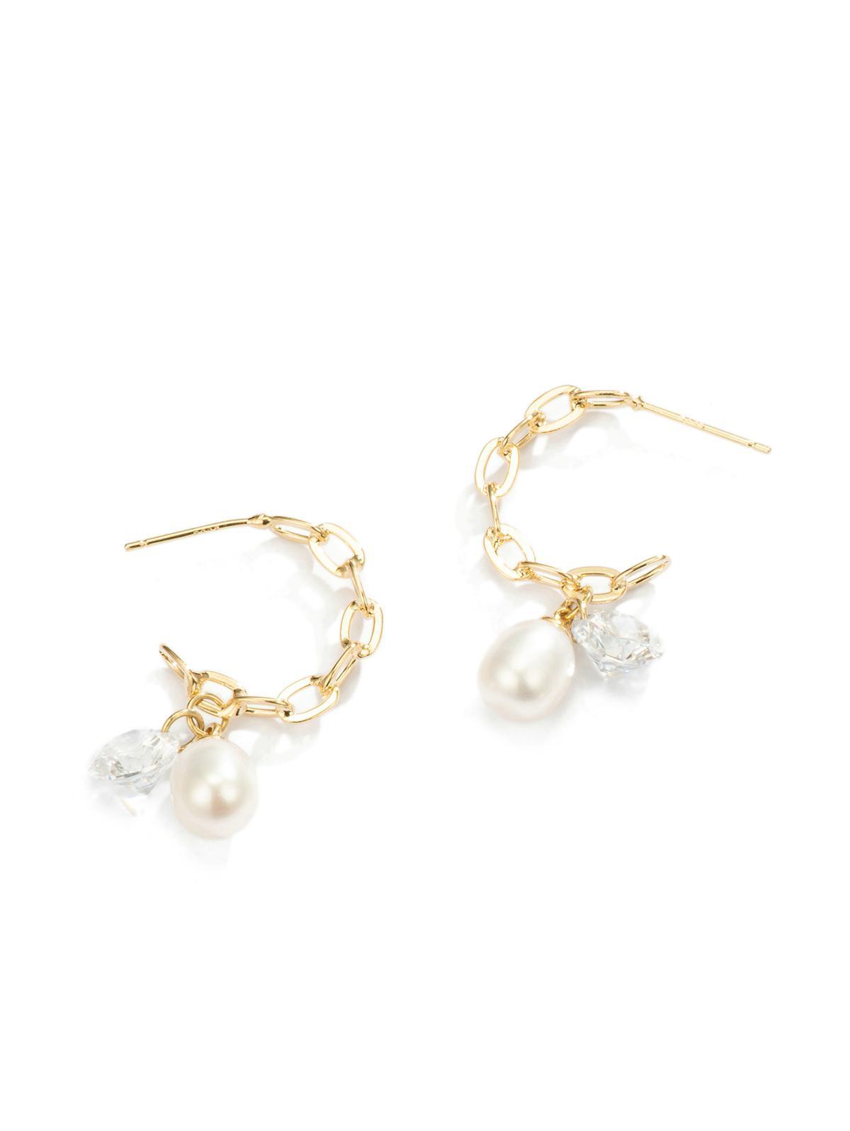 Rhinestone Pearl Chain Dangle Earrings