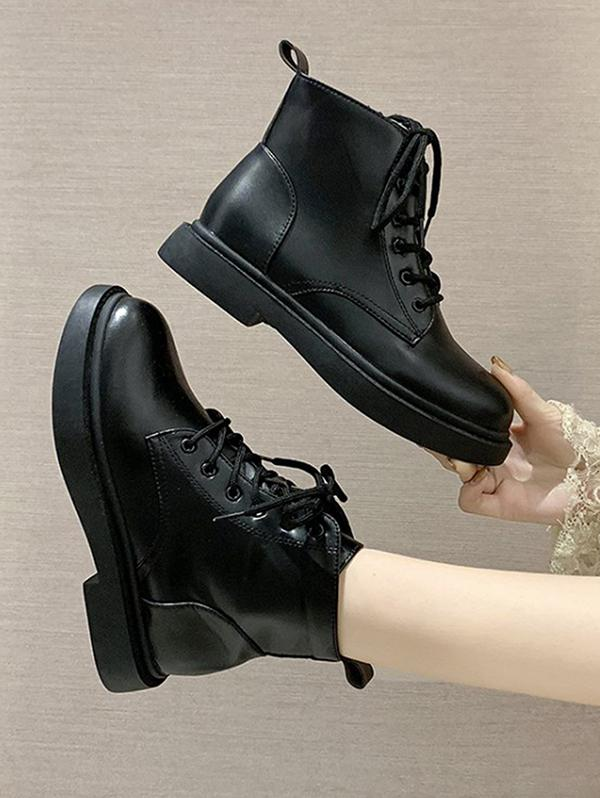 Plain PU Leather Cargo Ankle Boots
