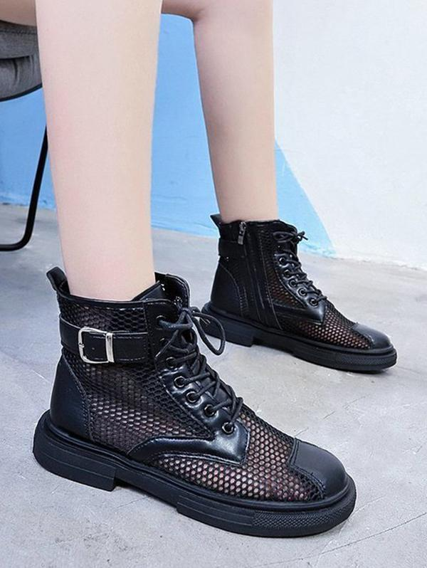 Mesh Lace Up Ankle Boots
