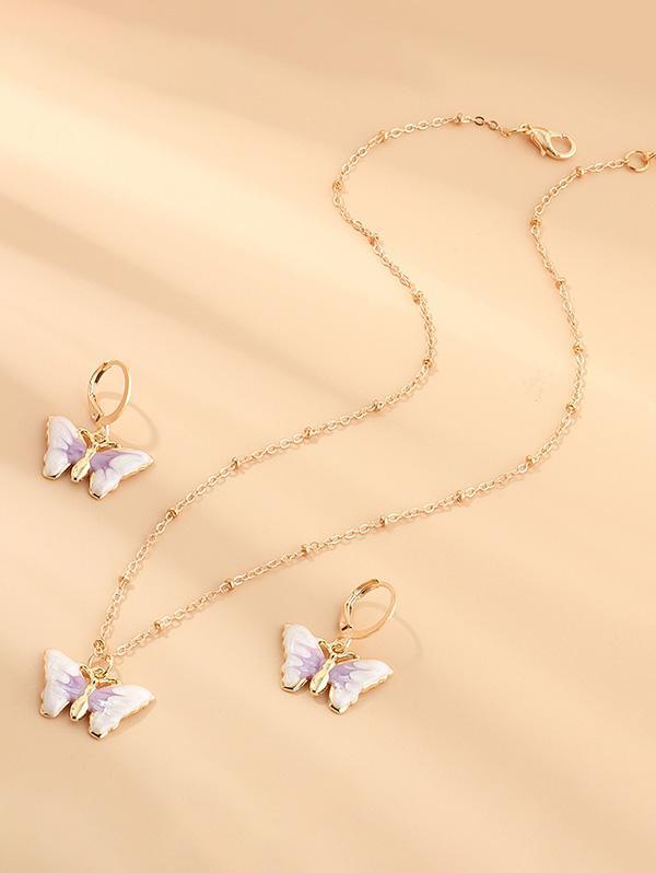 Butterfly Earrings Necklace Set