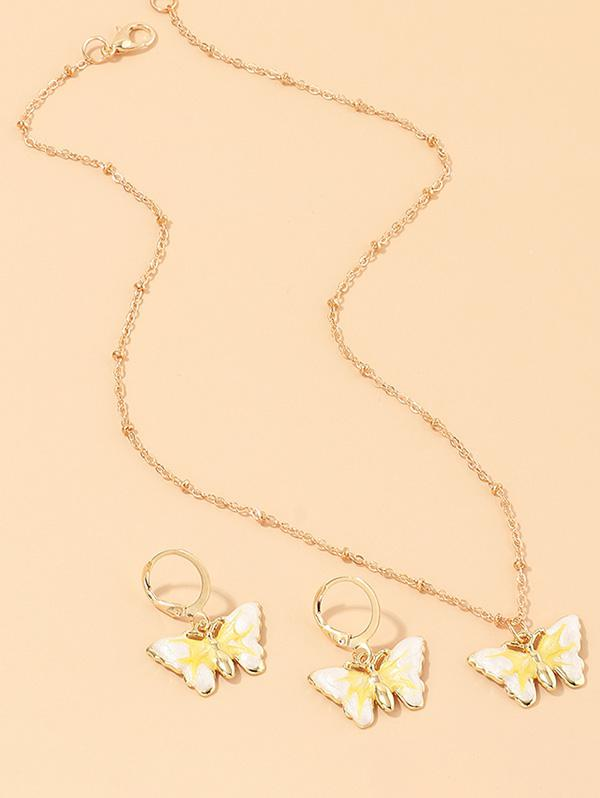 Butterfly Earrings Necklace Set