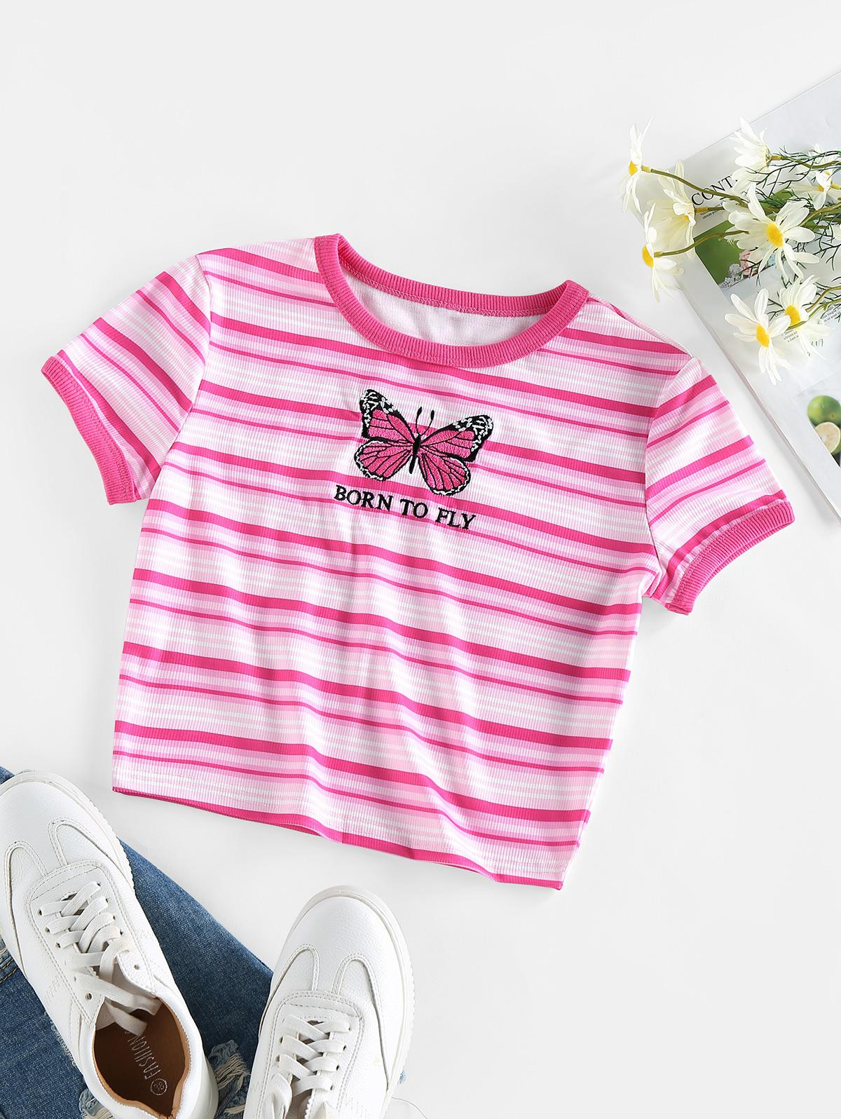 Striped Butterfly Embroidery Cropped T Shirt