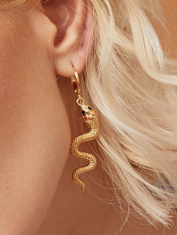 Textured Snake Clip Earrings