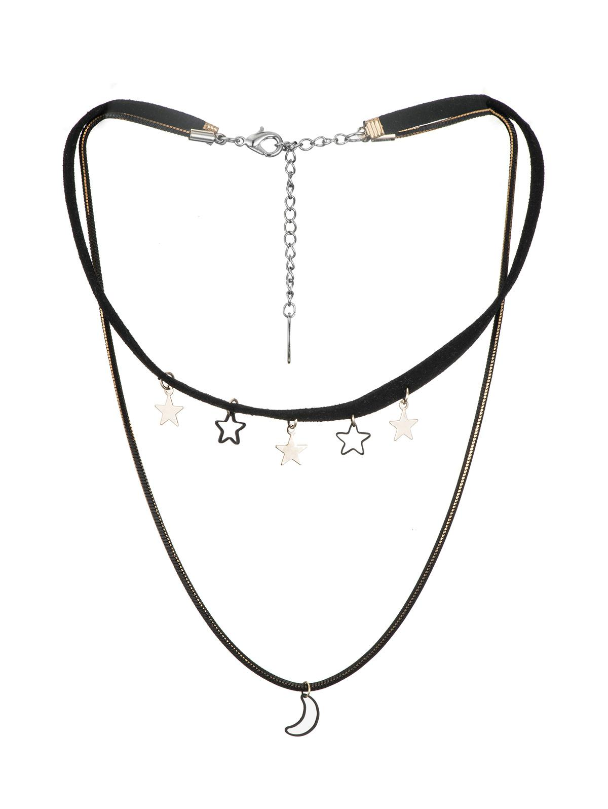 Moon Stars Layered Cord Choker Necklace