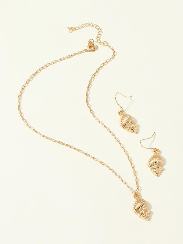 Conch Pendant Earrings Necklace Set