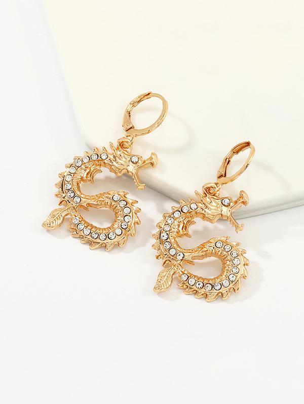 Rhinestone Chinese Dragon Clip Earrings