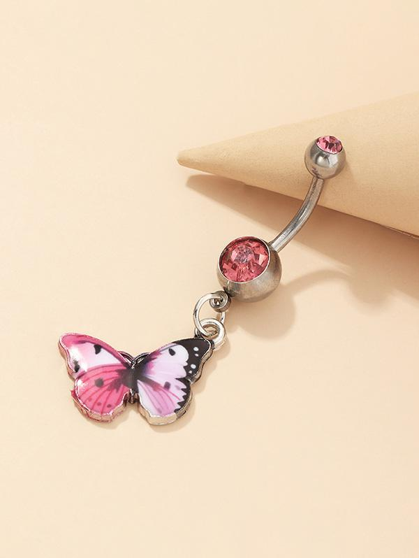 Butterfly Rhinestone Alloy Navel Ring