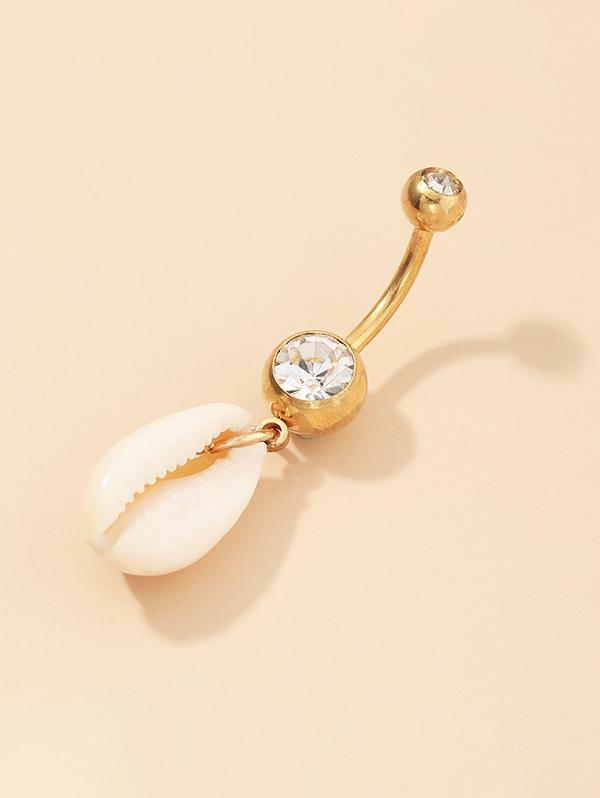 Cowrie Shell Rhinestone Navel Ring